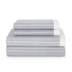 Wrap yourself up in these grey and white striped sheets by Tommy Hilfiger, sure to complement your decor. These sheets are made of cotton and conveniently machine washable.