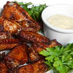 Baked Buffalo Chicken wings and sauce - sounds DELICIOUS!! Must try! (need canola, real mayo and sour scream)