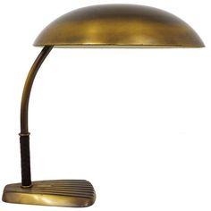 1940s Josef Frank Kalmar Vienna Brass Leather Table Lamp