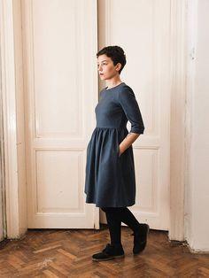 Blue Cotton Cloth Dress Short Gathered High Waist Navy Blue