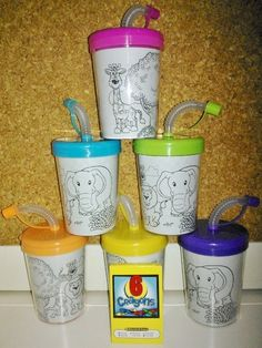 6 Disney Doc McStuffins Stickers Birthday Sipper Cups with lids Party Favor Cups