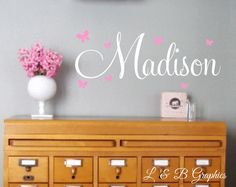 Butterflies Name Wall Decal - Girls Name Wall Decal - Vinyl Wall Decal - Vinyl Lettering - Baby Girl Nursery Wall Decal- Personalized by landbgraphics on Etsy https://www.etsy.com/listing/268608577/butterflies-name-wall-decal-girls-name