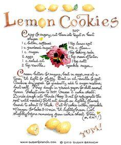 lemon cookie recipe....I love Susan Branch's Art work.