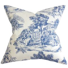 Bring an elegant touch to your sofa or favorite arm chair with this cotton pillow, showcasing a timeless toile motif. Product: Pi...