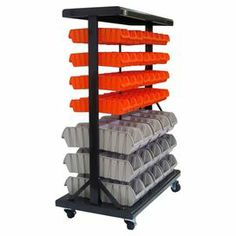 """Perfect for corralling home improvement accessories in the garage, this rolling steel utility rack features 30 gray and 64 orange bins for effortless organization.  Product: 30 Medium bins, 64 small bins, and 1 mobile bin rackConstruction Material: SteelColor: Black, gray and orangeFeatures:  Two locking castersDual-sidedCan hold up to 330 lbs Dimensions: Medium Bins: 2.75"""" H x 3.75"""" W x 5.75"""" D Small Bins: 5"""" H x 5.25"""" W x 8.5"""" D Mobile Bin Rack: 49"""" H x 37"""" W x 19"""" D"""