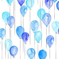 Colorful fabrics digitally printed by Spoonflower - (small scale) blue watercolor balloons
