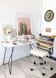 Stylish Whimsical Work Space Urban Outfitters Striped Rug White Chair Modern Desk Palm Print Colorful Pillow Gold Lamp Home Decor