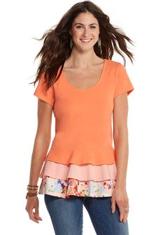 Dream Puff Tunic  This cheerful peplum top looks just as lovely with our ruffles and finns as it does with your favorite skinny jeans. The Dream Puff Tunic will add a jolt of fresh citrusy color to your spring wardrobe! Item #: 20618T $46.00