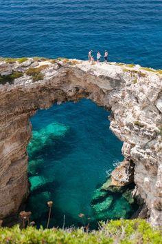 Triptos Arch in Paxi, Greece