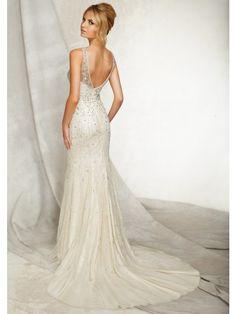 Trumpet/ Mermaid High collar Court Train chiffon sequins Wedding Dress