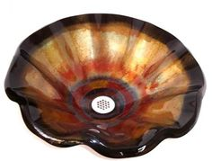 Tuscan Fire II Wavy Edge Glass Vessel Sink, $1195 on www.artisancraftedlighting.com