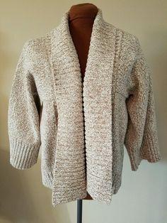 Ann Taylor Loft Size L Light Brown & Ivory 3/4 Sleeve Kimono Cover Sweater NWOT #AnnTaylorLOFT #Sweatercoat