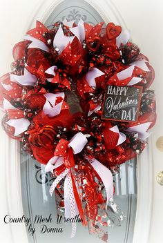 Valentines Wreath~ Deco Mesh, Tulle, and Oodles of Ribbon