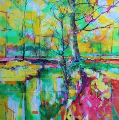 'Blakeney Straits' acrylic on canvas semi abstract landscape painting. Doug Eaton - Forest of Dean 100 x 100cm