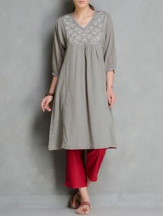 Buy Grey V Neck Embroidered & Pleated Cotton Kurta by Radha's Daughter Women Kurtas Online at Jaypore.com