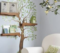 Love the gentle, natural color palette for this gender-neutral nursery. Tree Branch Shelves #neutral #nursery #design