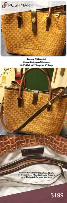 """👜/EUC/Dooney & Bourke/ Leather Embossed Satchel 👜EUC/Dooney & Bourke Embossed Real Leather Satchel Style Bag! Natural w Drk Brown Accents/ Cloth Lined no marks/rips/Stains/Lots of Storage w inside Backwall Zipper Compartment/Large Slip Pocket/Middle Large Zipper Compartmment/Divider/InsideWall 2 Slip Pockets(1 w a Snap Close/1 open 2 slip ur Cell Phone into/10.5""""Hx13""""Lx7""""D/Secure Latch Close/Double Rolled Handles/)Adjustable Shoulder Strap/Gold Hardware/Footed Bottom/Dust Bag/All Real…"""