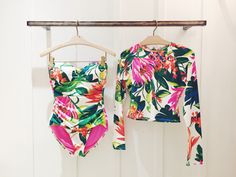 Obsessed with this bright print from Tommy Bahama. Swimsuits, Bikinis, Swimwear, Beach Essentials, Tropical Style, Summer Is Here, Tommy Bahama, Bathing Suits, Floral Tops