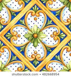 Ceramic Accent Tile - Home Decor - Backsplash Tile - Italian Designs Tile 49 Pottery Patterns, Tile Patterns, Watercolor Wallpaper, Flower Wallpaper, Art Nouveau Tiles, Italian Tiles, Wood Carving Designs, Beautiful Flowers Wallpapers, Painted Flower Pots