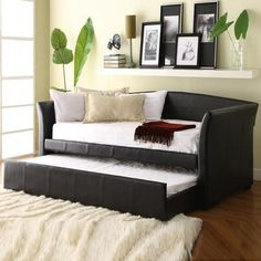 Deluxe & Comfortable Meyer Espresso Bycast Pu Leather Arm Daybed With Trundle