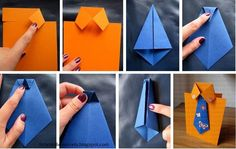 Cute and easy DIY Fathers Day Card Ideas to make at home.DIY Fathers day cards tutorials for making origami shirt cards,tie theme cards Diy And Crafts, Crafts For Kids, Arts And Crafts, Paper Crafts, Diy Father's Day Cards, Origami Shirt, Origami Dress, Diy Y Manualidades, Pioneer Gifts