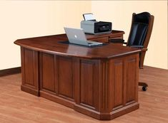 Amish Fifth Avenue Executive L-Desk Professional. Impressive. Customizable. The Fifth Avenue takes your office to the next level. This solid wood desk is built to your specifications. Amish made in America. #desks #executivedesk