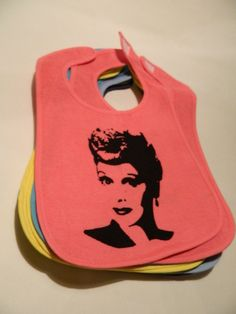 I Love Lucy Lucille Ball Baby Bib - CLEARANCE. $1.95, via Etsy.