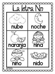 Las Palabras Del Alfabeto {Alphabet portable word wall in Preschool Spanish, Spanish Lessons For Kids, Elementary Spanish, Spanish Activities, Alphabet Activities, Learning Spanish, Learning Activities, Sorting Activities, Bilingual Kindergarten