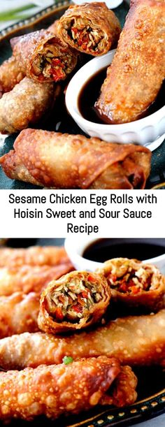 Sesame Chicken Egg Rolls with Hoisin Sweet and Sour Sauce Recipe – Sanji Recipe