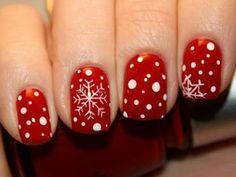 Nageldesign galerie weihnachten rote fabe und dekorative schnee