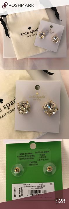 Kate Spade Clear Earrings NWT Includes Box and bag Kate Spade Clear Earrings NWT, perfect to wear with everything!! Comes with dust bag and jewelry box. Asking $28 kate spade Jewelry Earrings