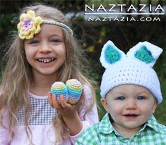 Crochet Easter or Spring Hats and Flower Headband pattern