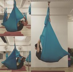 Locust pose with hammock in aerial yoga class #HammerAerialYoga Http://www.hammeraerialyoga.com