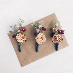 Burgundy fall boutonniere, navy button hole, groomsman boutonniere, fall we Fall Wedding Flowers, Autumn Wedding, Autumn Flowers, Wedding Colors, Woodland Wedding, Rustic Wedding, Groomsmen Boutonniere, Boutonnieres, Wedding Boutonniere