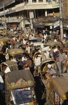 A Rickshaw Traffic Jam In Dhaka  - Bangladesh