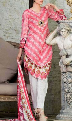 Buy Pink Printed Cotton Lawn Salwar Kameez by Subhata Lawn Collection
