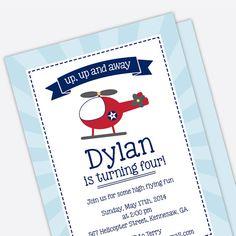 Helicopter Birthday Invitation - Kids Birthday Invite - Printed Birthday Invitations