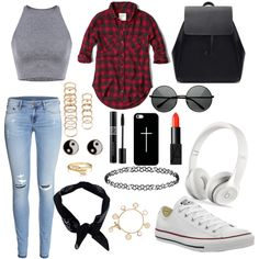 # street_style xx by caz15 on Polyvore featuring polyvore fashion style Abercrombie & Fitch H&M Converse Zara Tory Burch Bling Jewelry Forever 21 Dorothy Perkins Accessorize Casetify Boohoo NARS Cosmetics