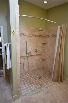 Wow check out this hip shower remodel - what an innovative style Ada Bathroom, Handicap Bathroom, Small Bathroom Vanities, Family Bathroom, Laundry In Bathroom, Bathroom Ideas, Shower Remodel, Bath Remodel, Bathroom Remodel Pictures