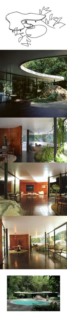 "In 1951, modernist architect Oscar Niemeyer designed and built his own residence, Casa das Canoas, in Rio de Janeiro, Brazil.    ""My concern was designing this residence with full freedom, adapting it to the uneven terrain, without altering it, making it into curves, so as to allow the vegetation to penetrate them, without the overt separation of the straight line.""  - Oscar Niemeyer"
