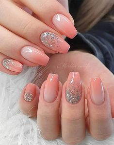 french nail designs These Ombre Wedding Nails Are So Pretty, French Ombre Nails Fancy Nails, Cute Nails, Pretty Nails, 3d Nails, Stiletto Nails, Pink Wedding Nails, Wedding Nails Design, Square Nail Designs, Ombre Nail Designs