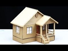 How to Build a Simple Cardboard House for a School Project Cardboard Houses For Kids, Cardboard Model, Cardboard Crafts, Paper Houses, Clay Fairy House, House Template, House Lamp, Miniature Houses, Miniature Dolls