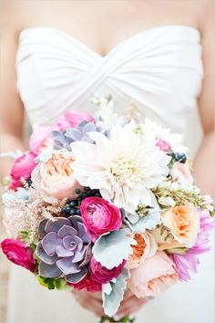 the colors in this bouquet are breathtaking - they perfectly compliment eachother! pink, purple and peach bridal bouquet by Flower Allie