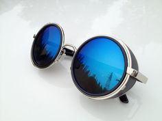 Retro Aviator Blue Sunglasses  Fashion Handmade by WowAwesomeStuff