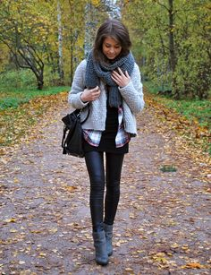 Scarf, Cardigan, Plaid Button-Up Shirt, Dress, Leggings, & Ankle Boots