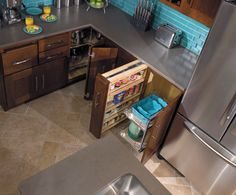 StarMark Cabinetry Chrome and Wood Accessories, Lazy Susan with Chrome/Wood Baskets, Base Mini Pantry and Base Pantry with Chrome/Wood Baskets
