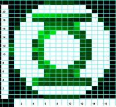 Cool Green Lantern logo chart from an awesome, original Green Lantern sweater Fuse Bead Patterns, Craft Patterns, Beading Patterns, Crochet Patterns, Pixel Crochet Blanket, C2c Crochet, Original Green Lantern, Green Lantern Comics, Seed Bead Jewelry