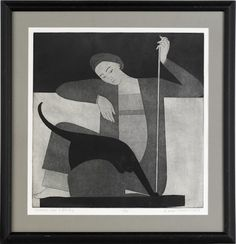 Woman, Cat, and String (1980) by Will Barnet