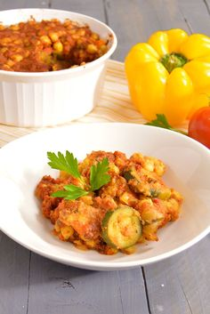 Moroccan Polenta Casserole - Hearty casserole full of veggies and chickpeas. Perfect for Sunday supper or Meatless Monday! Vegan, gluten free and easy to prepare. Uses frozen veggies to save time in the kitchen!