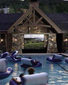 my jaw dropped when I saw the outdoor movie screen with pool